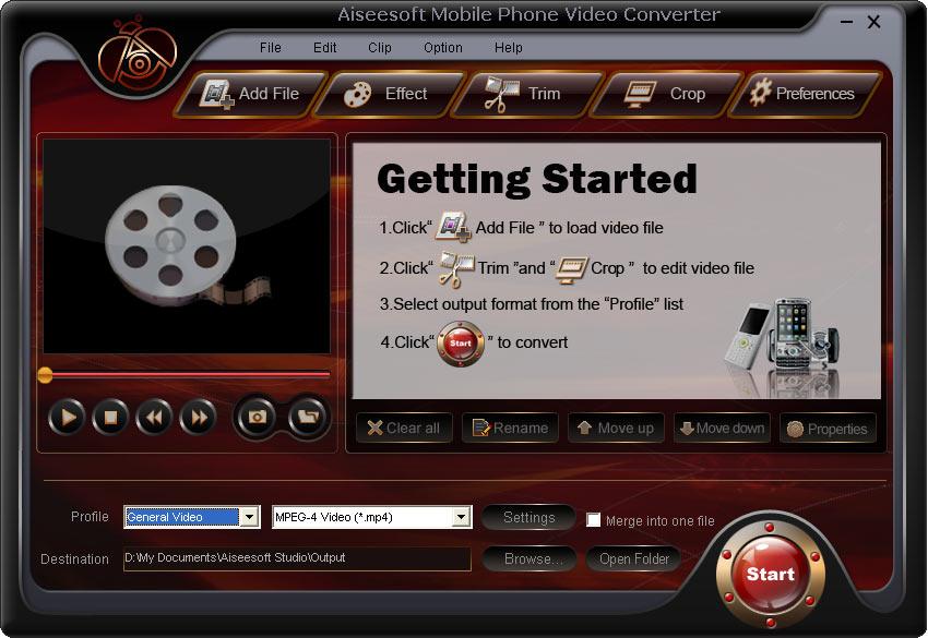 Screenshot of Aiseesoft Mobile Phone Video Converter