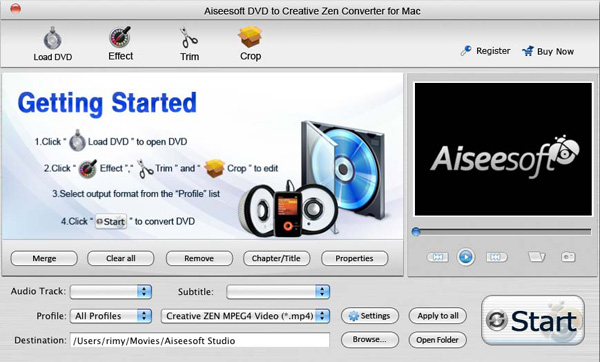 DVD to Creative Zen Converter for Mac screen