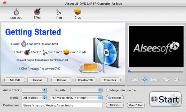 DVD to PSP Converter for Mac screen