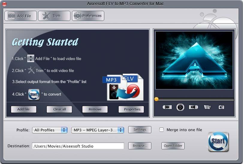 Aiseesoft Flv to Mp3 Converter for Mac Screen shot