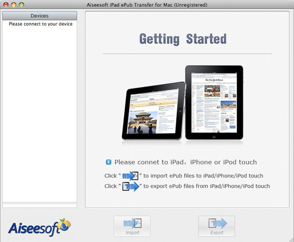 iPad ePub Transfer for Mac screen